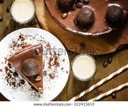 piece of chocolate cake, top view, selective focus - stock photo