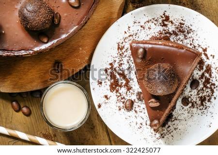 piece of chocolate cake, top view, selective focus - stock photo