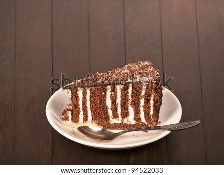 Piece of chocolate cake with icing at white plate - stock photo