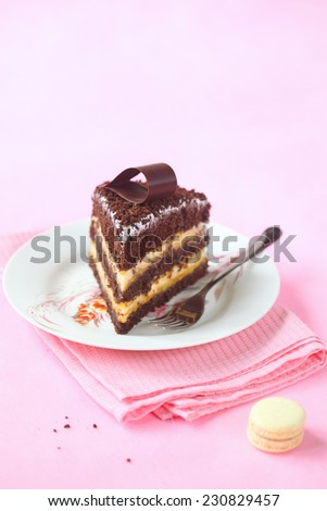 Piece of Chocolate Layer Cake with Meringue and Passionfruit Curd decorated with chocolate loop, on a white plate and pink napkin, on a light pink background. - stock photo
