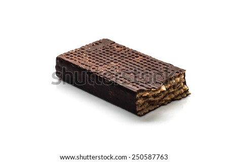 Piece of chocolate wafer isolated on white background - stock photo