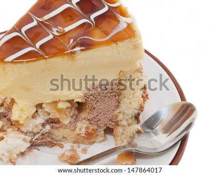 piece of delicious cake with mango mousse - stock photo