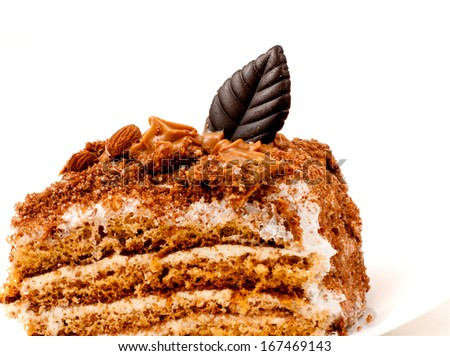 piece of delicious chocolate cake - stock photo