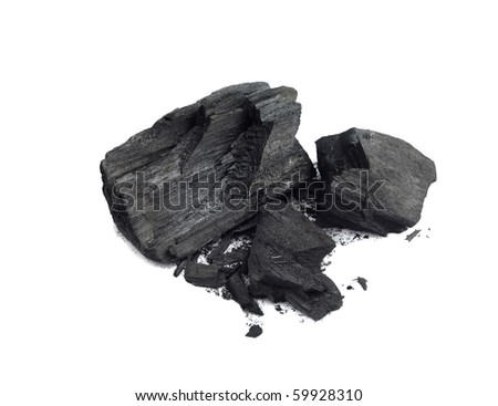 Piece of fractured wood coal isolated over white background - stock photo