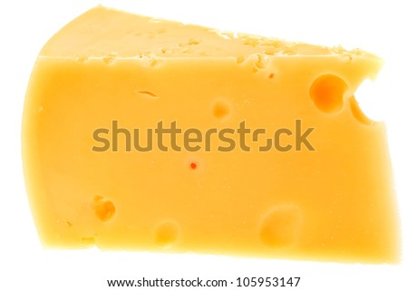 piece of french parmesan cheese isolated on a white background - stock photo