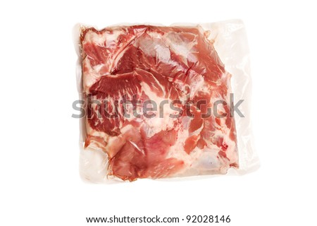piece of Fresh pork  meat in vacuum packed - stock photo