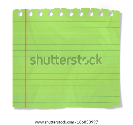 piece of green notebook sheet  isolated on white - stock photo