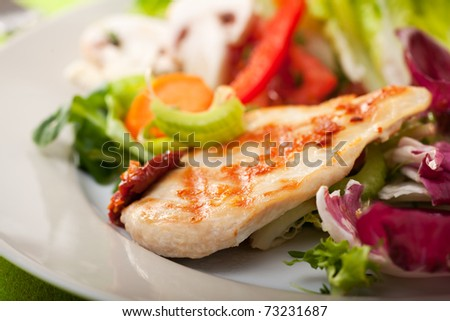piece of grilled chicken breast - stock photo