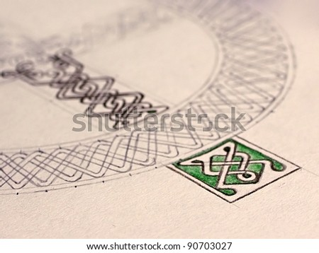 Piece of hand painted celtic circle - stock photo