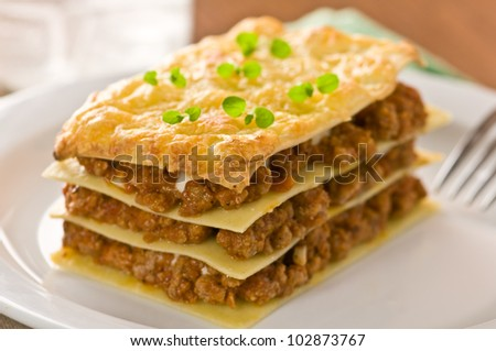 piece of lasagna on white plate - stock photo