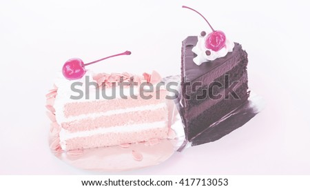 Piece of layer cake in soft color vintage style - stock photo