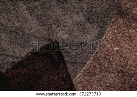 Piece of Leathers and Suede, Earth Tone. Concept and Idea of Fine Leather Crafting, Handmade, Handcrafted Artisan, Leather and Fashion Industry. Background Textured and Wallpaper. - stock photo