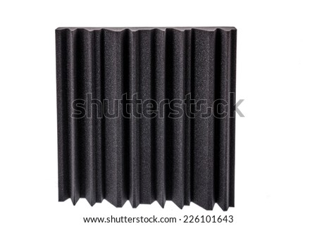 piece of microfiber foam insulation for noise in the corners of the music studio or acoustic halls , rooms or houses , professional studio insulation material , noise isolation - stock photo