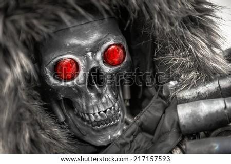 Piece of modern warfare robot closeup photo - stock photo