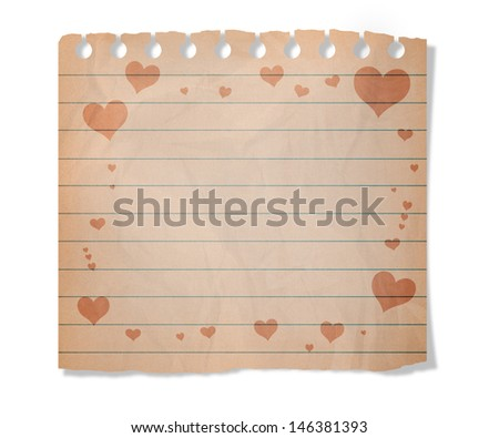 Piece of old  paper with hearts  isolated on white - stock photo