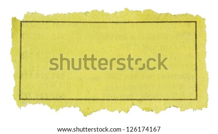 Piece of paper with blank advertisement. - stock photo