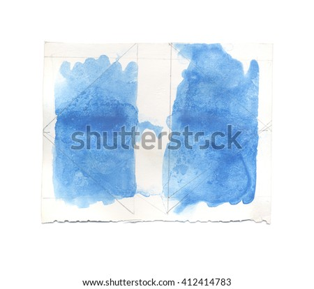 Piece of paper with blue abstract hand painted watercolor stains and gray pencil geometrical drawing - stock photo
