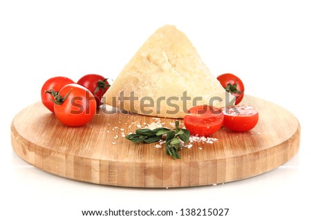 Piece of Parmesan cheese on wooden board isolated on white - stock photo
