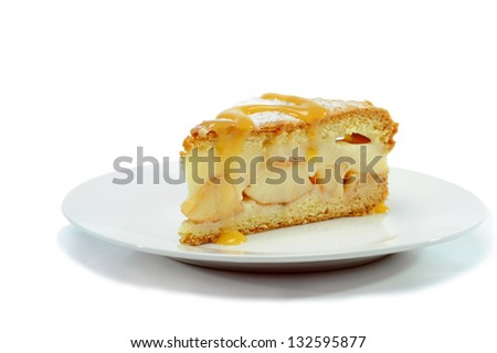 Piece of Pie on the white Plate - stock photo