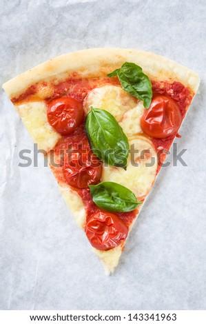 Piece of Pizza Margarita - stock photo