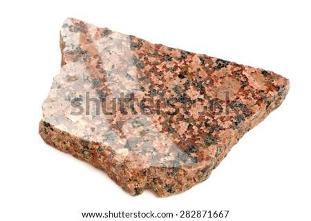Piece of Polished Granite Isolated on White Background - stock photo