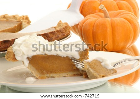 piece of pumpkin pie ready to be eaten - stock photo