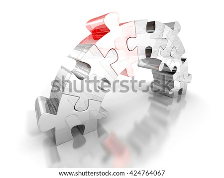 piece of red puzzle connect bridge two groups. business concept 3d render illustration - stock photo