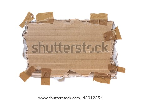 Piece of ripped cardboard stuck with tape isolated in white - stock photo
