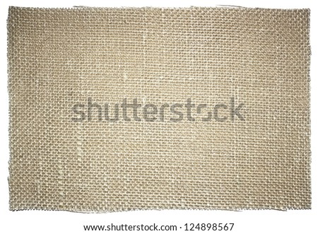 Piece of sacking fabric isolated on white background - stock photo