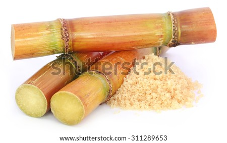 Piece of sugarcane with sugar over white background - stock photo