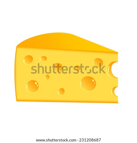 Piece of tasty cheese on a white background. - stock photo