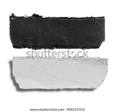 Piece of torn paper, Ripped paper, space for copy on white - stock photo