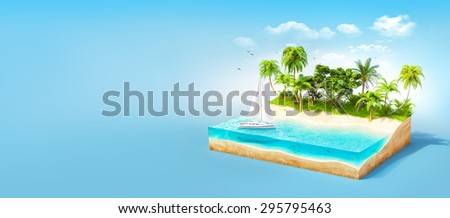 Piece of tropical island with water and palms on a beach in cross section.  Unusual travel illustration - stock photo