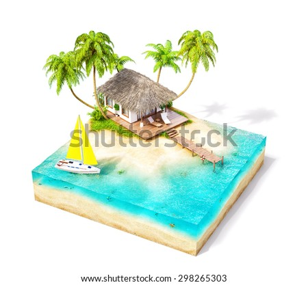 Piece of tropical island with water, palms and bungalow on a beach in cross section.  Unusual travel illustration. Isolated on white - stock photo