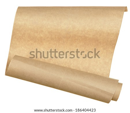 piece old paper rolled up in a roll isolated on white background - stock photo