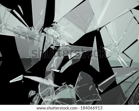 Pieces of Broken and Shattered glass on black - stock photo