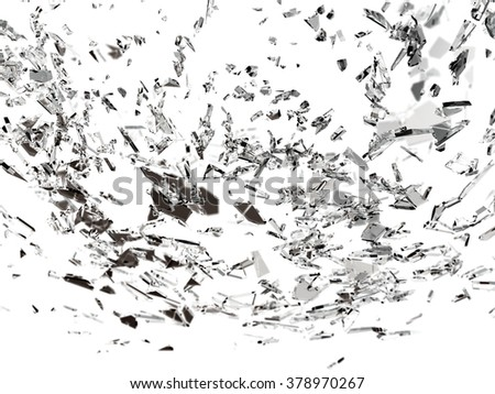 Pieces of broken or cracked glass on white. - stock photo