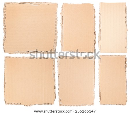 Pieces of brown cardboard isolated on white background - stock photo