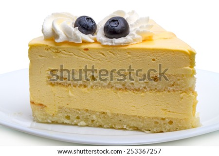 Pieces of cake with blueberries on a white plate - stock photo