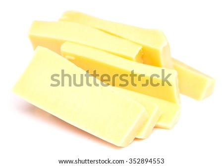 pieces of cheese isolated on white background - stock photo