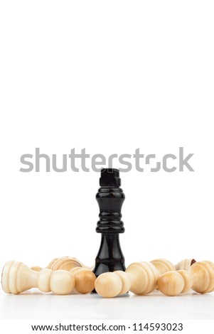 Pieces of chess game against a white background - stock photo
