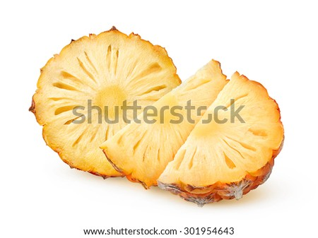 Pieces of fresh pineapple fruit isolated on white background with clipping path - stock photo