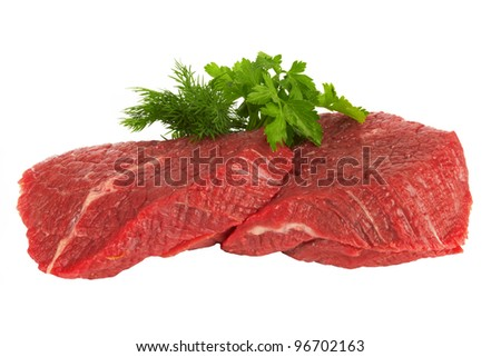Pieces of fresh raw meat on white background - stock photo