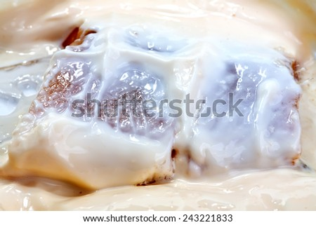 Pieces of herring with cheese sauce close-up - stock photo