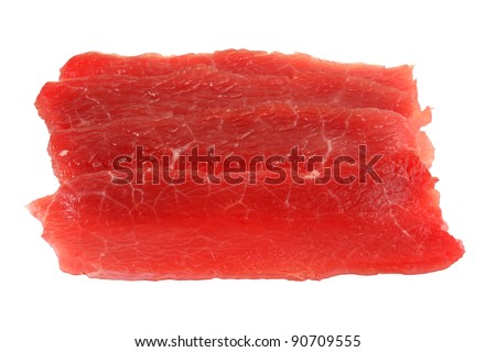 Pieces of paper-thin sliced beef for Shabu Shabu (Japanese Hot pot / Soup), isolated on white background - stock photo