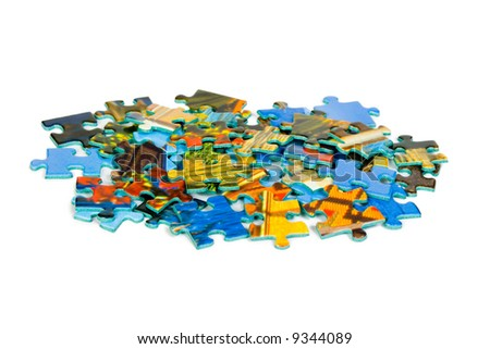Pieces of puzzle, isolated on white background - stock photo