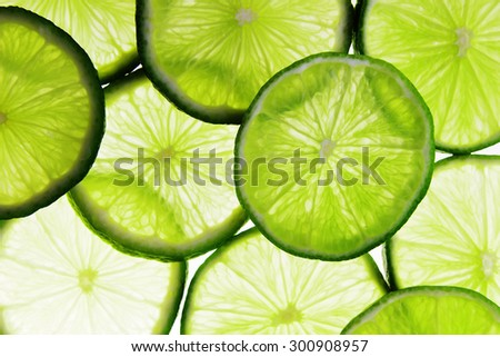 pieces of sliced of fresh ripe fruit lime - stock photo