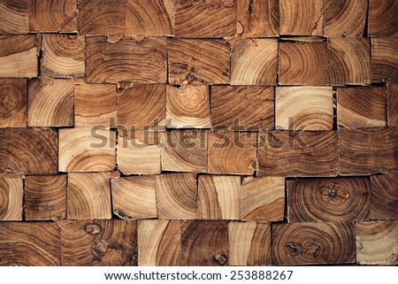 pieces of teak wood stump background - stock photo