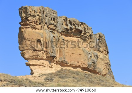 Piedra del Mediodia , spectacular rock formation in Piraces - stock photo