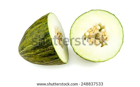 Piel de sapo melon, santa claus melon isolated - stock photo